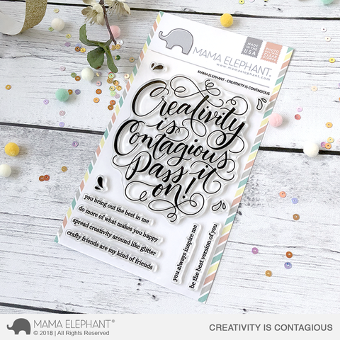 Mama Elephant Creativity is Contagious Stamp Set