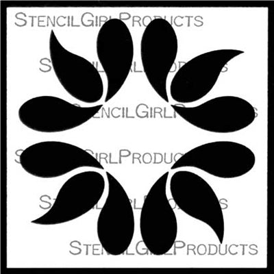 Stencil Girl Bent Drops Mini Flower Stencil 4x4
