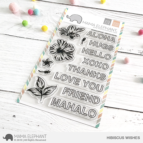 Mama Elephant Hibiscus Wishes Stamp Set