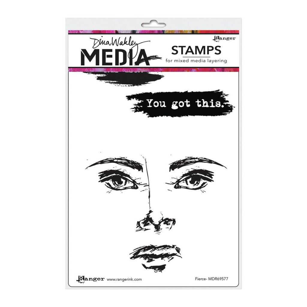 Dina Wakley Media Cling Stamps - Fierce