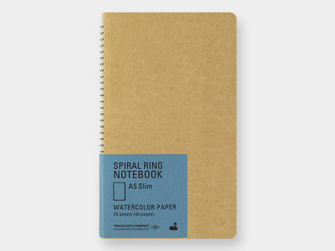 Traveler's Notebook - A5 Slim Spiral Watercolor Paper