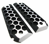 1911 Bobbed Grips, Full Size, Fastback, HEX Pattern, Brushed Aluminum Finish with Matte Black