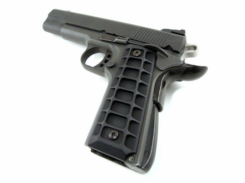 1911 Grips, Colt Government, Commander, Full Size, Billet Aluminum, SOCOM Matte Black Finish