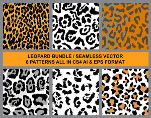 6 Leopard Vector Patterns Bundle Pack