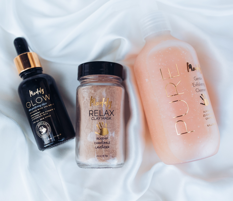 Scar Bundle: Glow Elixir, Relax Clay Mask, and Pure Exfoliating Cleanser