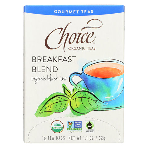 Choice Organic Gourmet Black Tea - Breakfast Blend - Case of 6 - 16 Count