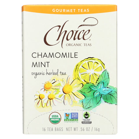 Choice Organic Gourmet Herbal Tea - Chamomile Mint - Case of 6 - 16 Count