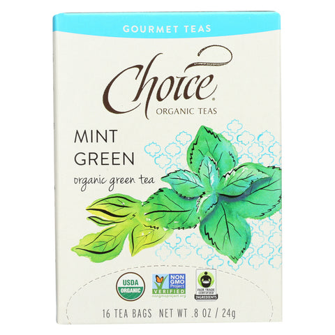 Choice Organic Gourmet Green Tea - Mint Green - Case of 6 - 16 Count