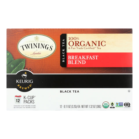 Twinings Tea K-Cup Pods - Organic - Tea - Breakfast Blend - 12 Count - Case of 6