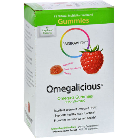 Rainbow Light Gummy Omegalicious Omega 3 Formula Sour Raspberry - 30 Packets