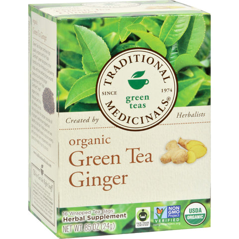 Traditional Medicinals Organic Green Tea Ginger - Case of 6 - 16 Bags