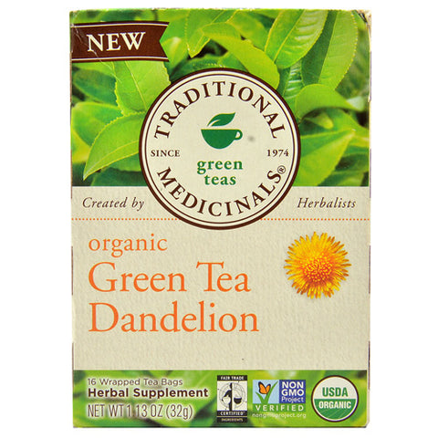 Traditional Medicinals Tea - Organic - Green Tea - Dandeln - 16 ct - 1 Case