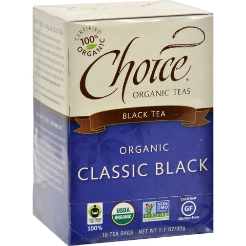 Choice Organic Teas Black Tea - 16 Tea Bags - Case of 6