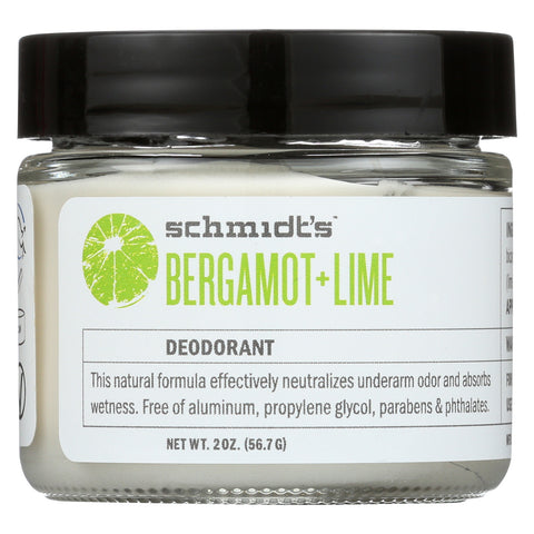 Schmidt's Natural Deodorant Jar - Bergamot Lime - Case of 1 - 2 oz.