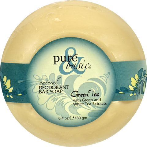 Pure and Basic Natural Deodorant Bar Soap - Green Tea - Case of 6 - 6.4 oz