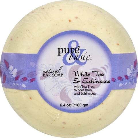 Pure and Basic Bar Soap - White Tea Echinacea - Case of 6 - 6.4 oz