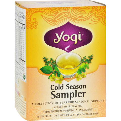 Yogi Cold Season Tea Sampler Caffeine Free - 16 Tea Bags - Case of 6