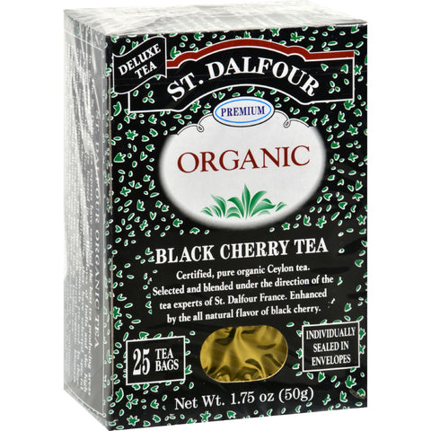 St Dalfour Organic Tea Black Cherry - 25 Tea Bags - Case of 6