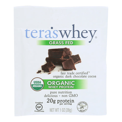 Teras Whey Protein Powder - Whey - Organic - Fair Trade Certified Dark Chocolate Cocoa - 1 oz - Case of 12