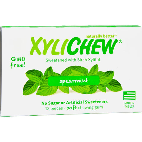 Xylichew Gum - Spearmint - Counter Display - 12 Pieces - 1 Case