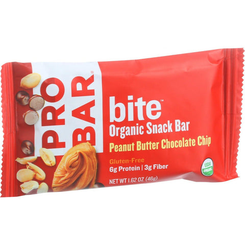Probar Bite Organic Snack Bar - Peanut Butter Chocolate Chip - 1.62 oz Bars - Case of 12