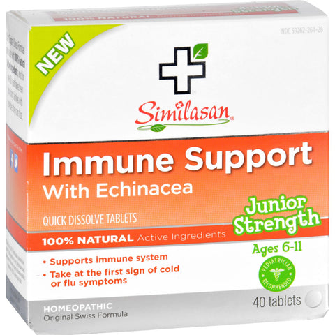 Similasan Immune Support - Echinacea - Junior Strength - Age 6 11 - 40 ct
