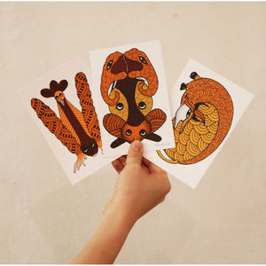 Set of 6 Silk Screen Post Cards - Manoj Lekam