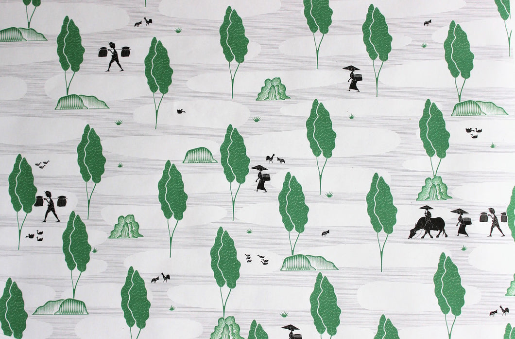 Toraja Wrapping Paper - Paddies Green