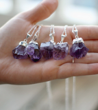 Silver Plated Amethyst Crystal Necklace - Livin' Freely  - 1