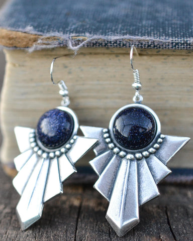 Blue Goldstone Dangle Earrings - Livin' Freely  - 1