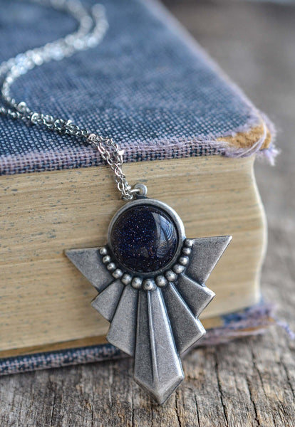 Blue Goldstone Necklace - Livin' Freely  - 1
