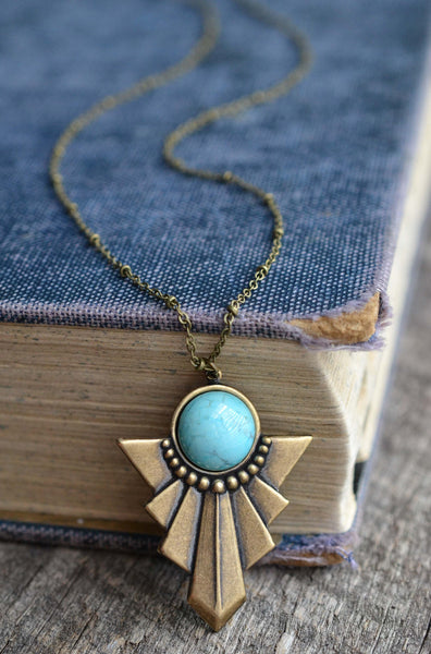 Turquoise Deco Necklace - Livin' Freely  - 1