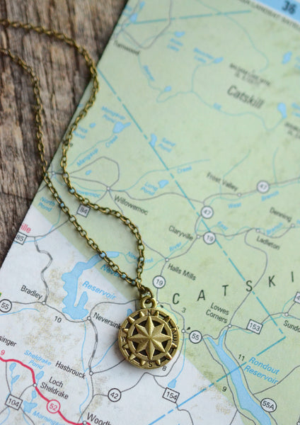 Bronze Compass Necklace - Livin' Freely  - 1