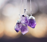 Silver Plated Amethyst Crystal Necklace - Livin' Freely  - 5