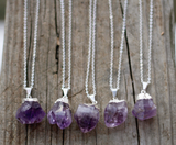 Silver Plated Amethyst Crystal Necklace - Livin' Freely  - 2