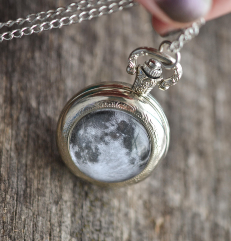 Full Moon Silver Pocket Watch Necklace - Livin' Freely  - 1