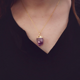 Gold Dipped Amethyst Crystal Necklace - Livin' Freely  - 2