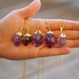 Gold Dipped Amethyst Crystal Necklace - Livin' Freely  - 1