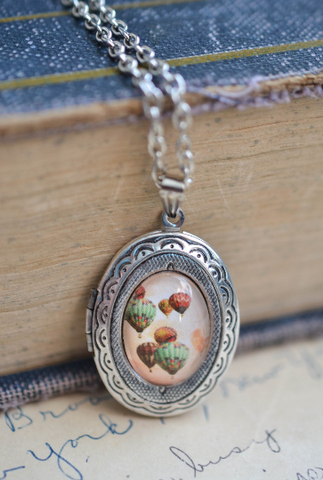 Dainty Hot Air Balloon Locket - Livin' Freely  - 1