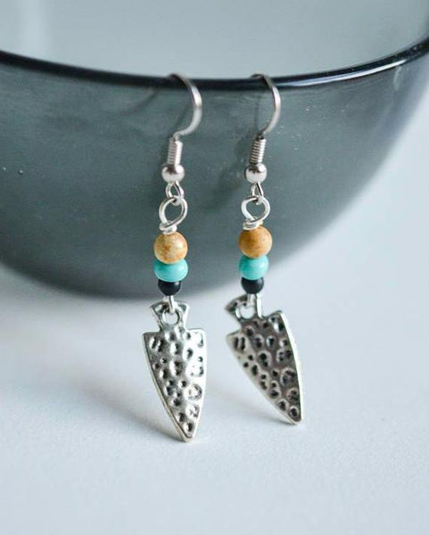 Hammered Arrowhead Dangle Earrings