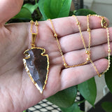 Gold Plated Jasper Arrowhead Necklace