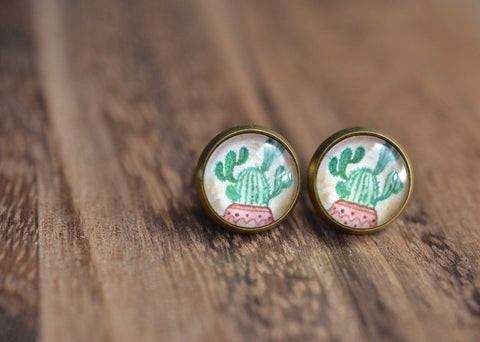 Cactus Stud Earrings - Livin' Freely  - 1