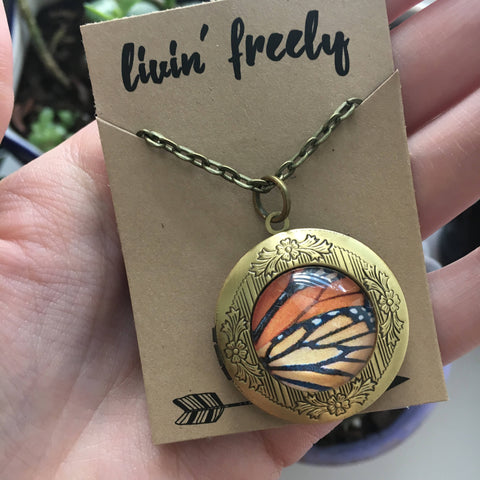 Butterfly Wing Locket Necklace