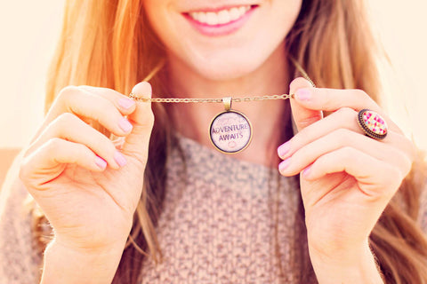 Adventure Awaits Quote Necklace - Livin' Freely  - 1