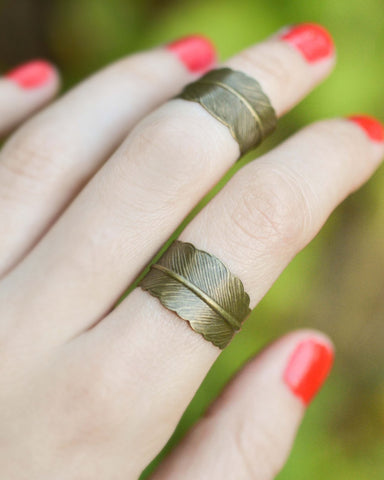 Adjustable Brass Feather Ring - Livin' Freely  - 1