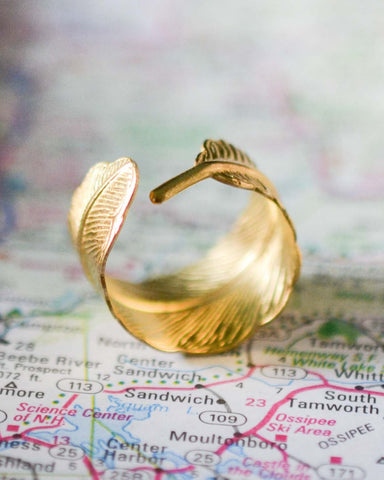 Adjustable Gold Feather Ring - Livin' Freely  - 2