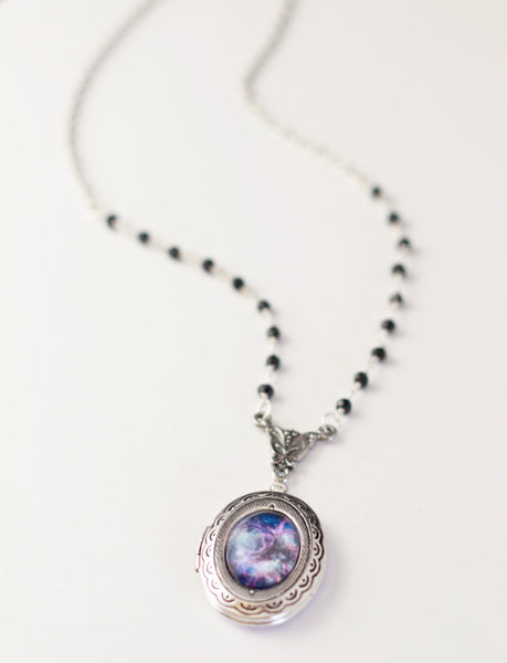 Dainty Beaded Galaxy Locket - Livin' Freely  - 1