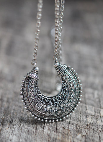 Long Boho Crescent Necklace - Livin' Freely  - 1