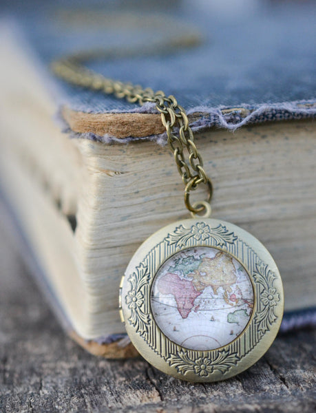 Vintage Map Locket Necklace - Livin' Freely  - 1
