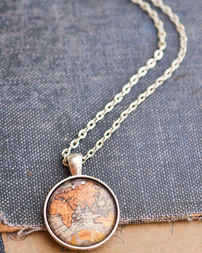 Antique Map Necklace - Livin' Freely  - 1